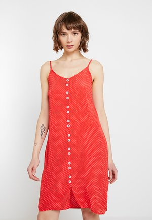 OBJLEMON SINGLET DRESS - Košilové šaty - poppy red