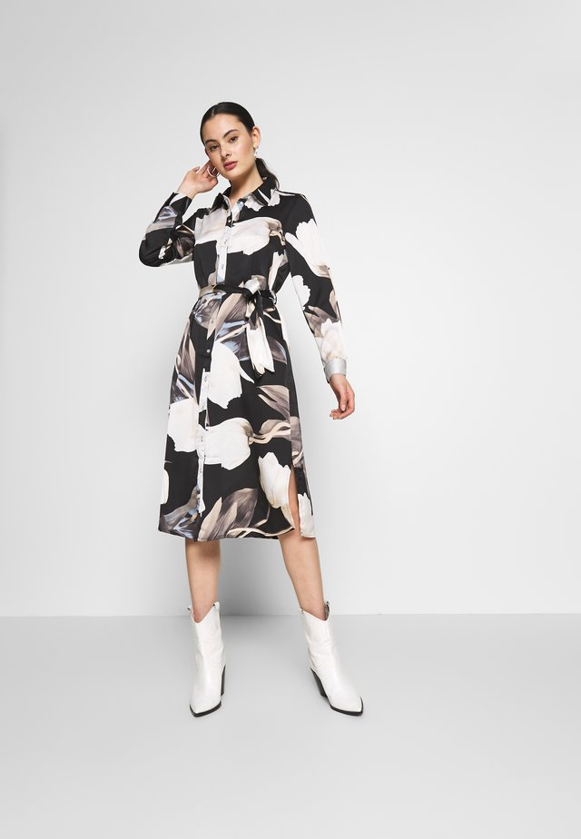 Shirt dress - black/black tulip print
