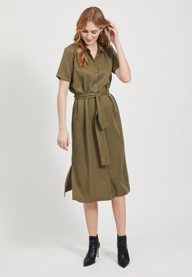 OBJTILDA ISABELLA S/S DRESS NOOS - Shirt dress - burnt olive