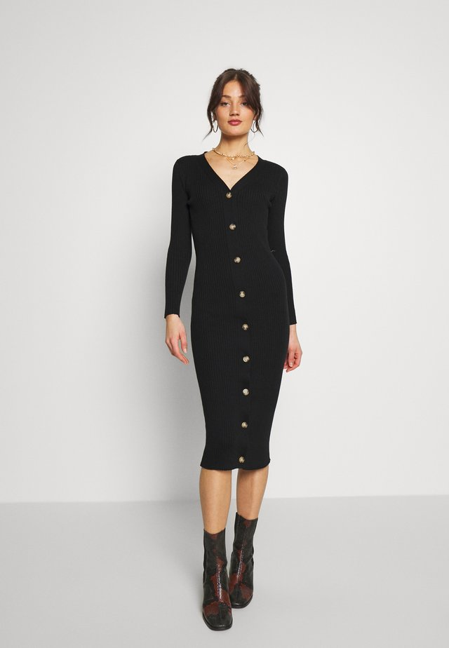 OBJFEATHER DRESS - Gebreide jurk - black