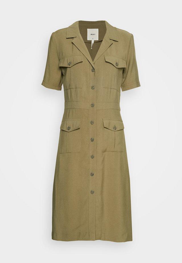 OBJEVE DRESS - Shirt dress - burnt olive