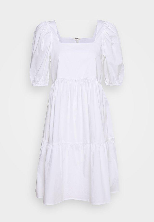 OBJAURA HIGH BACK DRESS - Denní šaty - cloud dancer