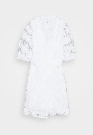 OBJSABRINA 2/4 WRAP SHORT DRESS - Day dress - gardenia