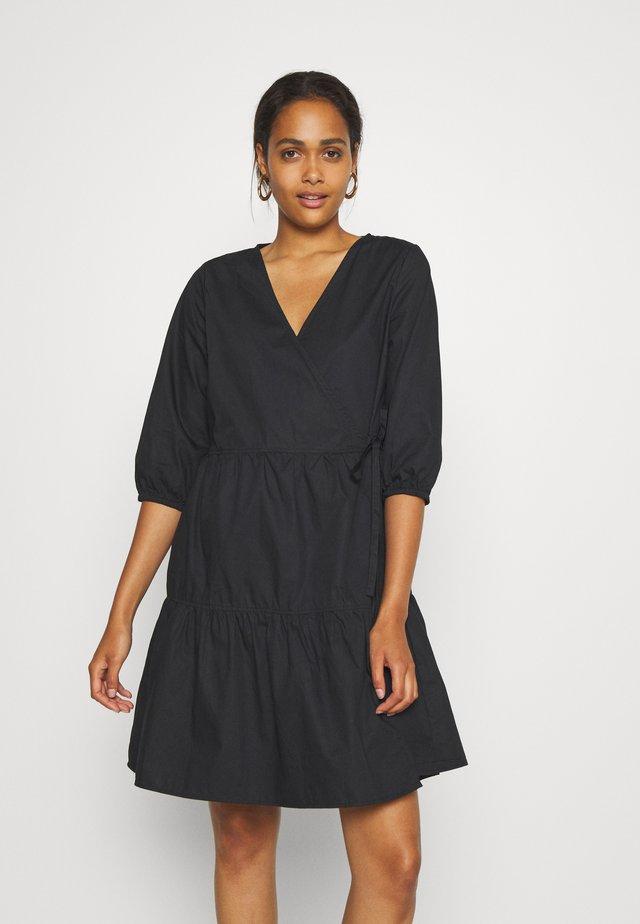 OBJSCHINNI WRAP DRESS  - Day dress - black