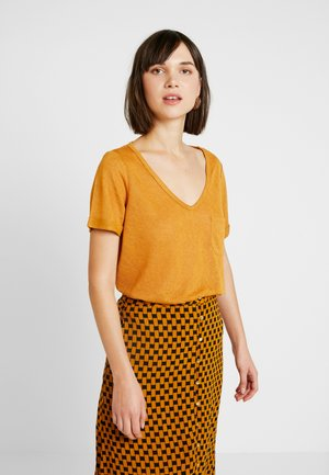 OBJTESSI VNECK SEASONAL - T-shirt basic - buckthorn brown