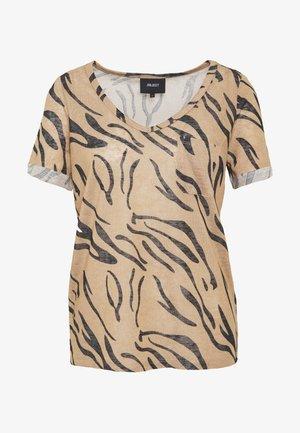 OBJTESSI SLUB V NECK - T-shirt con stampa - incense/thelma
