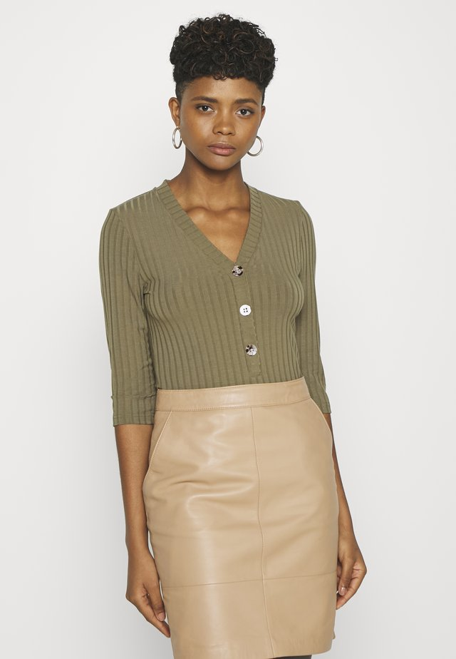 OBJVIOLETTA 3/4  - Long sleeved top - burnt olive