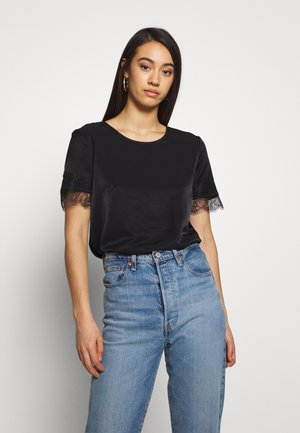OBJEILEEN S/S  LACE TOP NOOS - Bluser - black