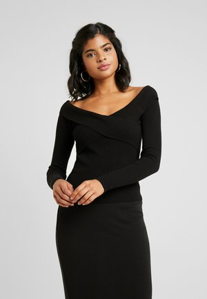 OBJFEVA OFF SHOULDER - Strickpullover - black