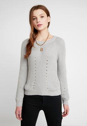 OBJMAYA - Stickad tröja - light grey melange