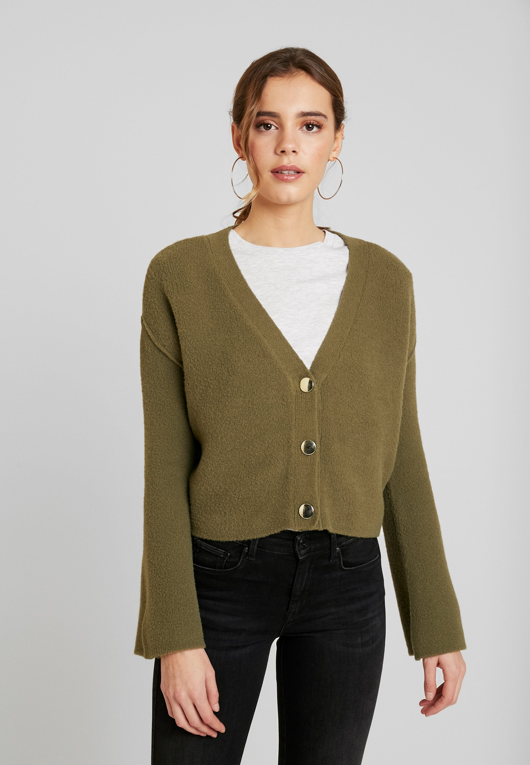 Object Petite OBJCAMDEN CARDIGAN REPEAT - Cardigan - burnt olive