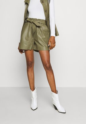 OBJSTAR - Leather trousers - burnt olive