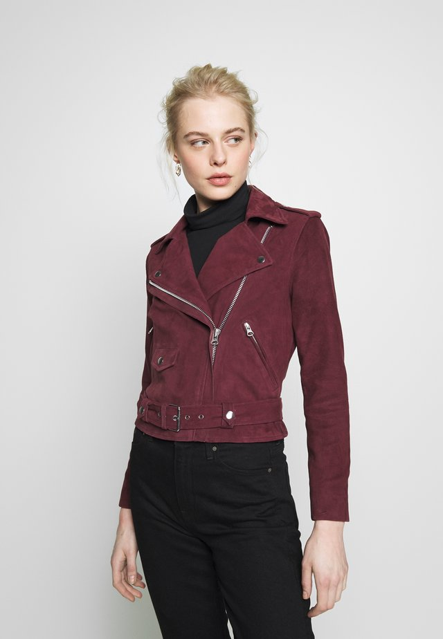 OBJNANDITA  SEASONAL - Leather jacket - port royale