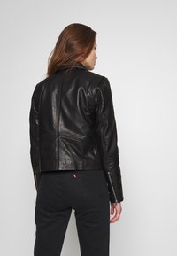 Object - OBJNETTIE L JACKET - Leather jacket - black - 2