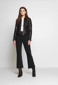 Object - OBJNETTIE L JACKET - Leather jacket - black - 1