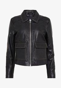 Object - OBJNETTIE L JACKET - Leather jacket - black - 4