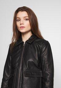 Object - OBJNETTIE L JACKET - Leather jacket - black - 3
