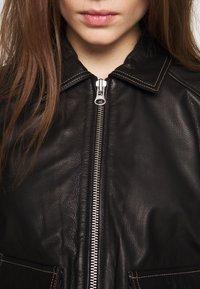 Object - OBJNETTIE L JACKET - Leather jacket - black - 5