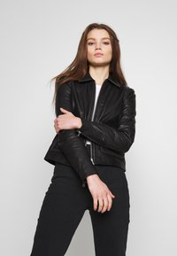 Object - OBJNETTIE L JACKET - Leather jacket - black - 0