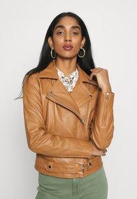 Object - OBJNANDITA JACKET SEASONAL - Leather jacket - sugar almond - 0