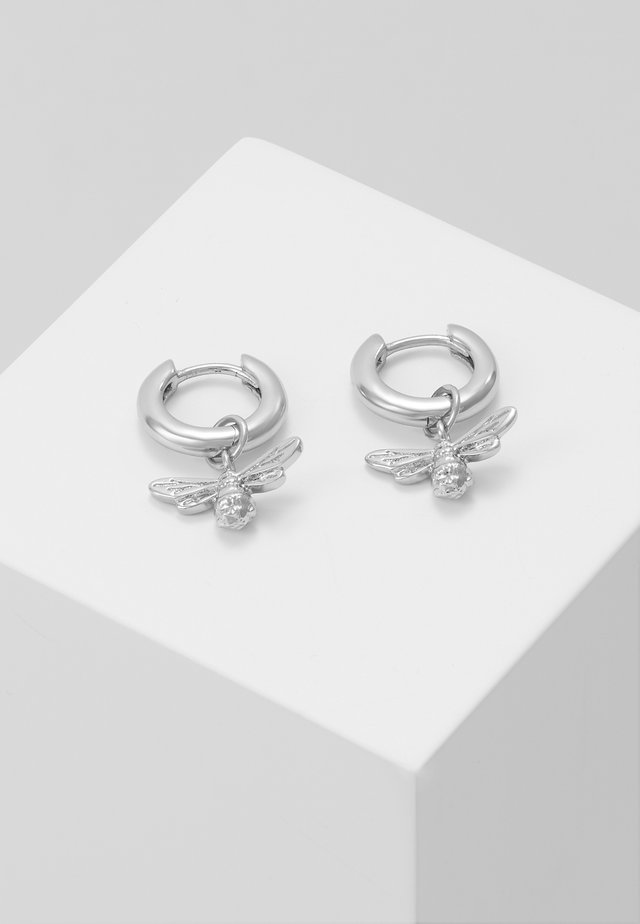 LUCKY BEE HUGGIE HOOP - Earrings - silver-coloured