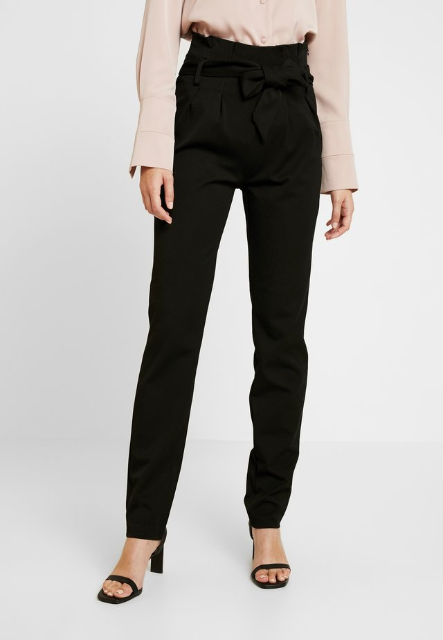 OBJLISA TIE WAIST  PANT - Trousers - black