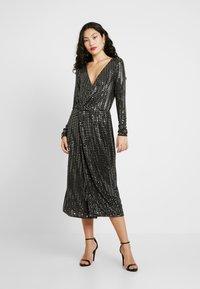 Object Tall - OBJSOLA DRESS - Jerseykleid - black/silver - 2