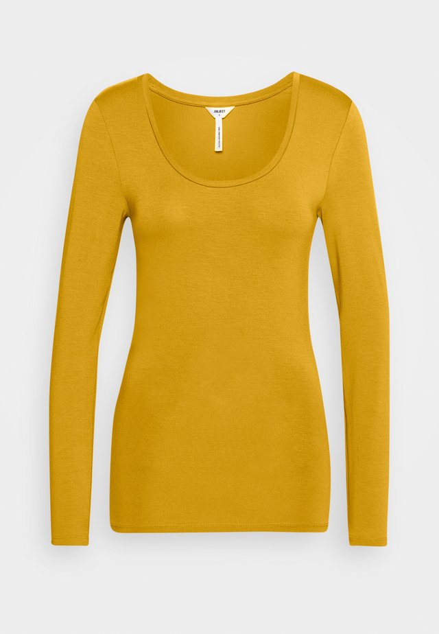OBJKATEU-NECK - Long sleeved top - tapenade