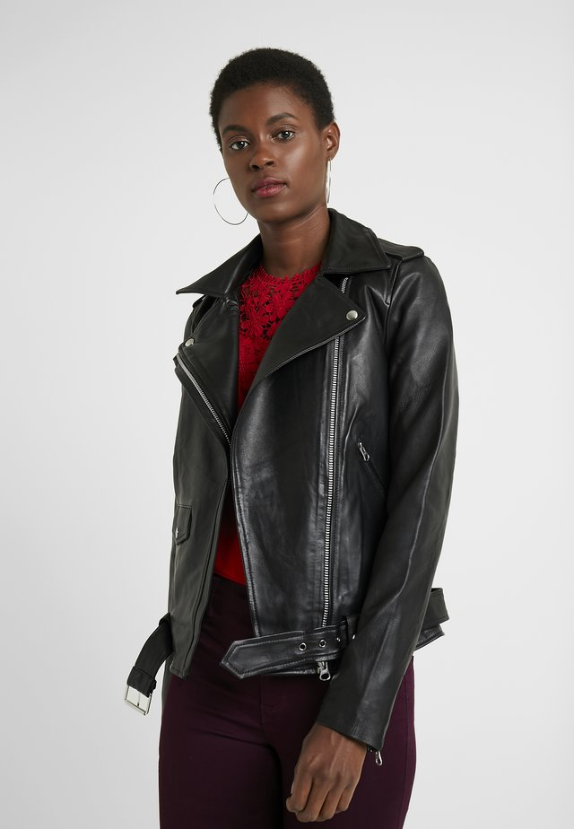 OBJNANDITA JACKET - Leather jacket - black