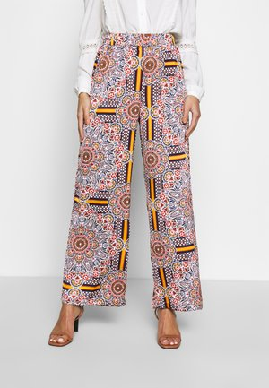 OBJAMELIA WIDE PANT - Broek - gardenia/muliti colour