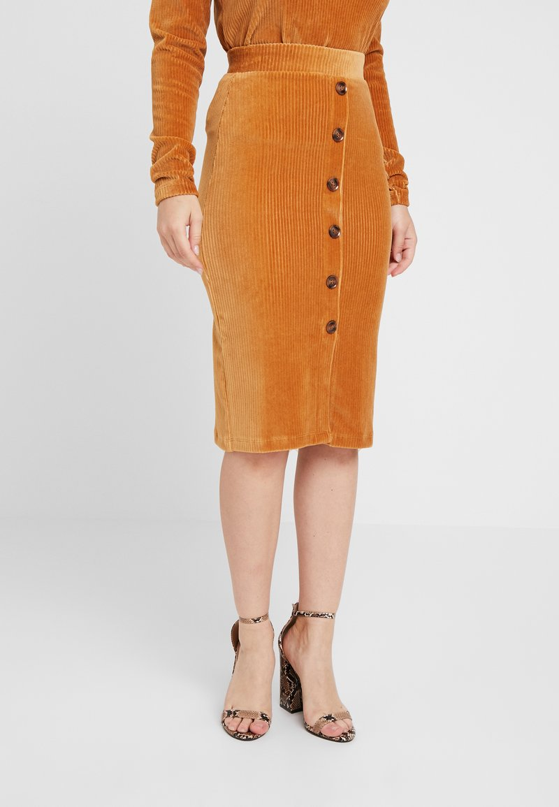 Object Petite - OBJCORDA SKIRT - Pencil skirt - brown sugar