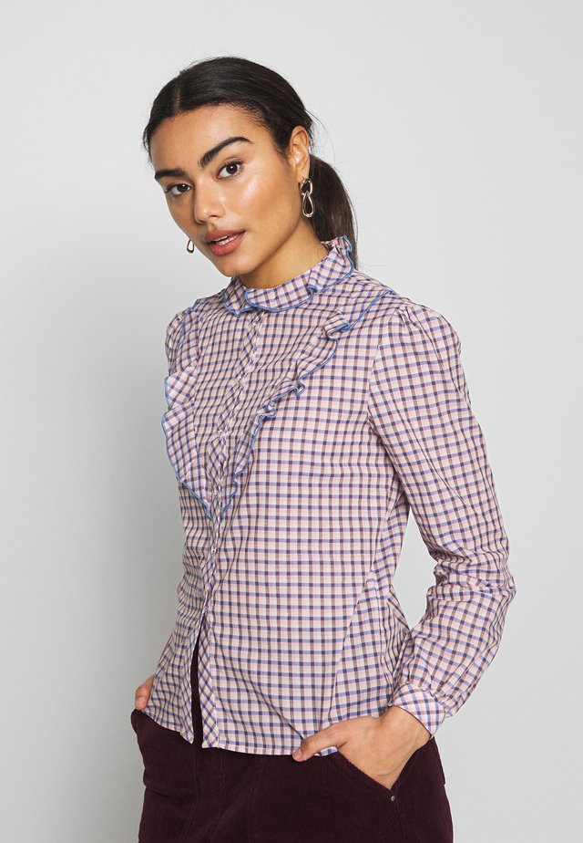 OBJLYNNE  - Button-down blouse - dazzling blue/brown gardenia