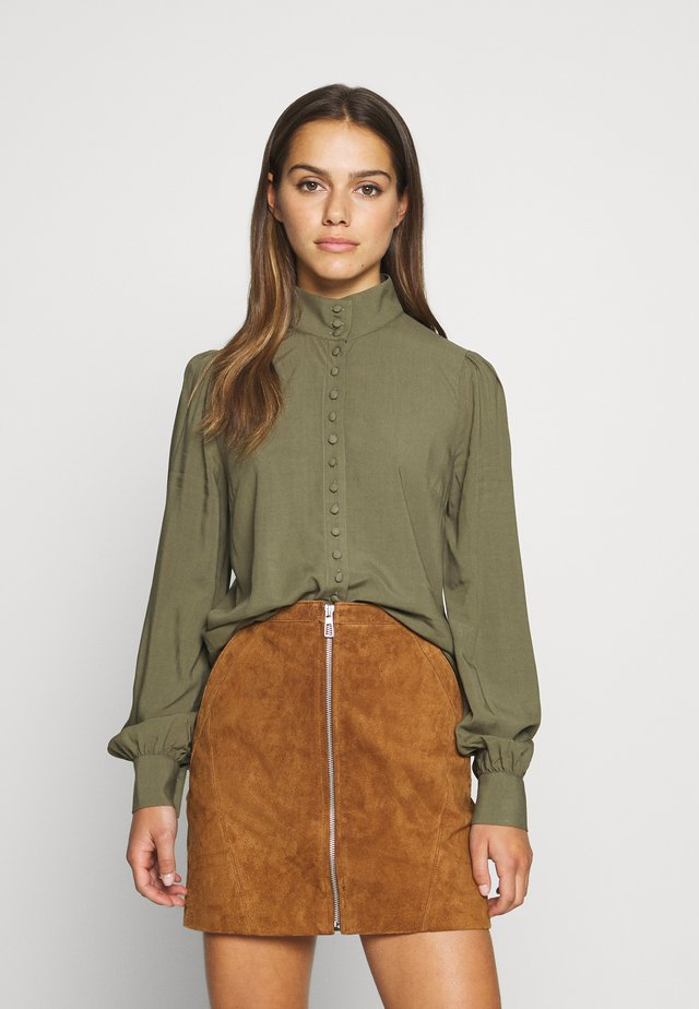 OBJCADI  - Button-down blouse - burnt olive