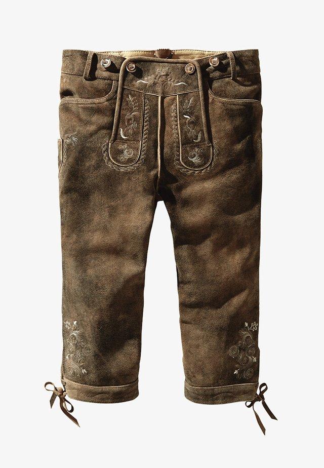 JUSTIN  - Leather trousers - havanna