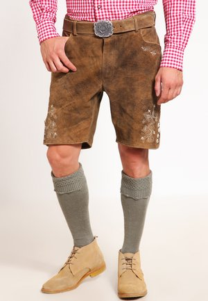CORBI - Kožené kalhoty - havanna