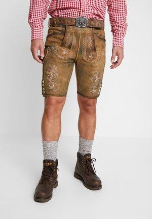 THOMAS - Kožené kalhoty - korn