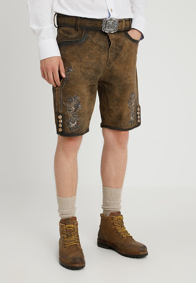ALOIS - Leather trousers - stein