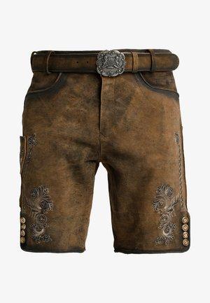 ALOIS - Kožené kalhoty - stein