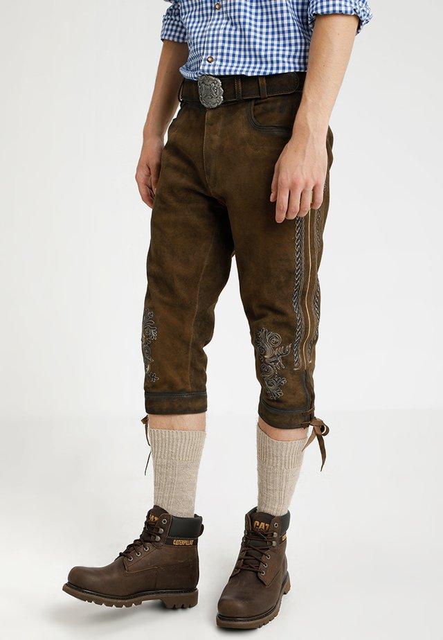 SIGGI - Leather trousers - stein