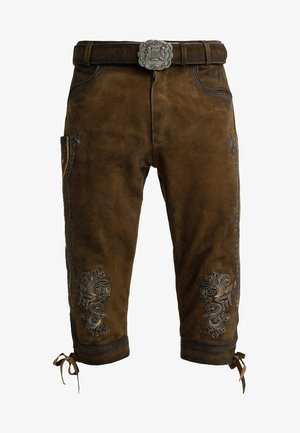 SIGGI - Kožené kalhoty - stein