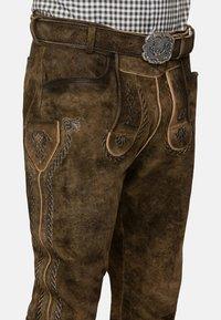 Stockerpoint - JOHANN - Kožené kalhoty - stein geäscht - 3
