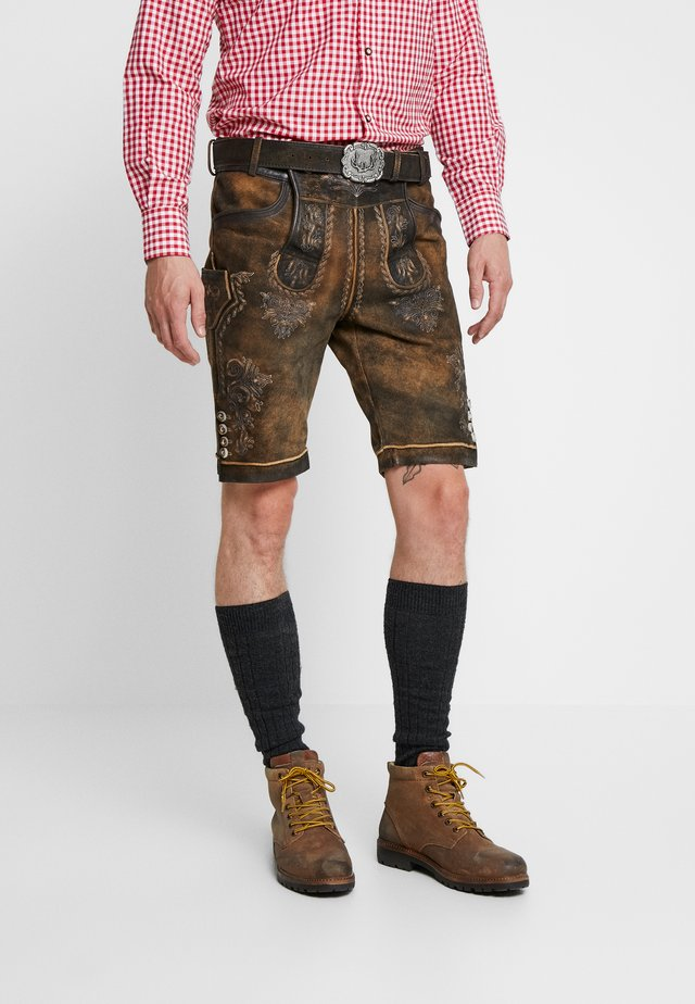 BRUCE - Leather trousers - nuss gespeckt