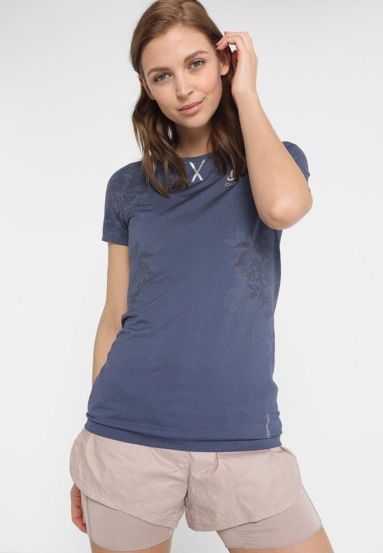 ODLO - CERAMICOOL  - T-Shirt print - blue indigo/faded denim/black