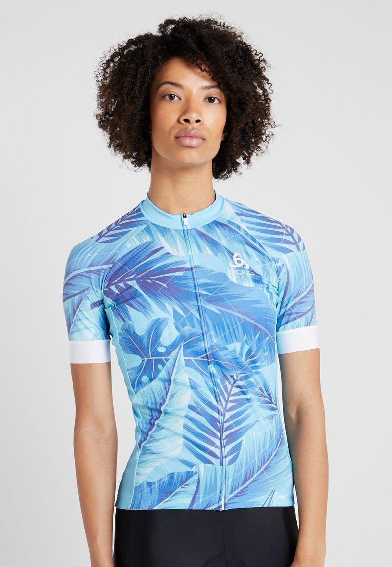 ODLO - WOMEN STAND-UP COLLAR FULL ZIP PERFORMANCE - T-Shirt print - blue