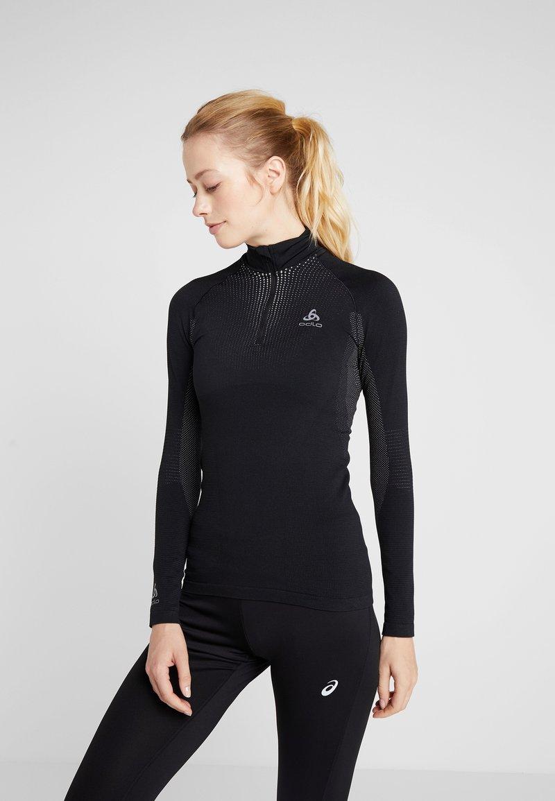ODLO - TURTLE NECK HALF ZIP  - Long sleeved top - black/concrete grey