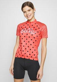 ODLO - STAND UP COLLAR FULL ZIP ELEMENT - Print T-shirt - hot coral melange/diving navy - 0