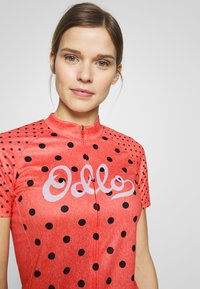 ODLO - STAND UP COLLAR FULL ZIP ELEMENT - Print T-shirt - hot coral melange/diving navy - 3
