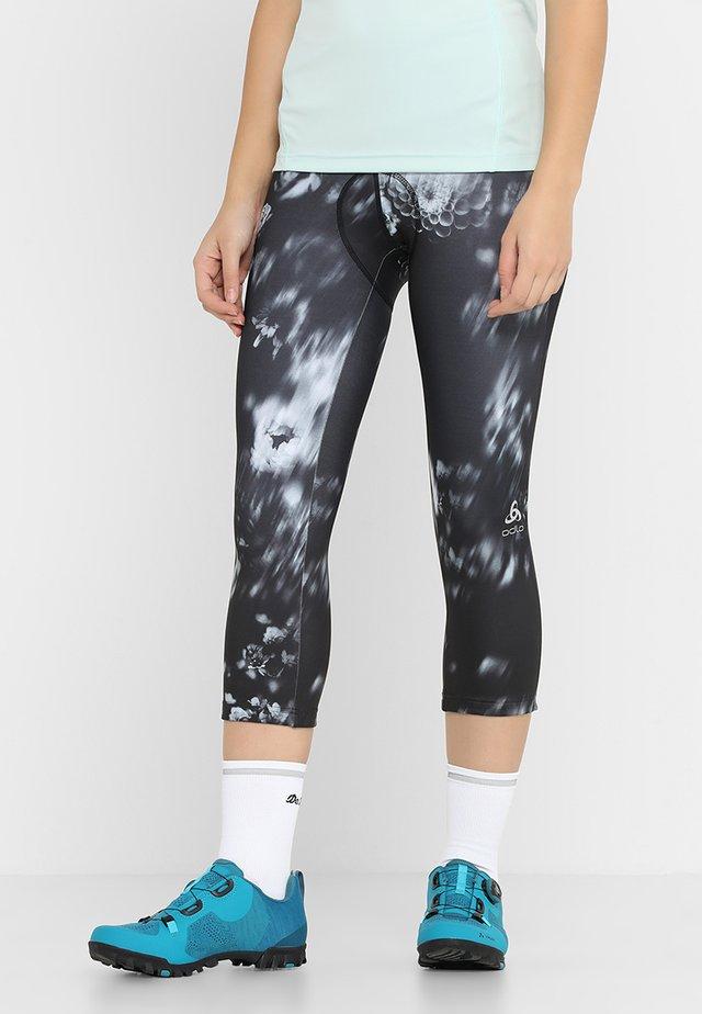 FUJIN PRINT - 3/4 sportovní kalhoty - black