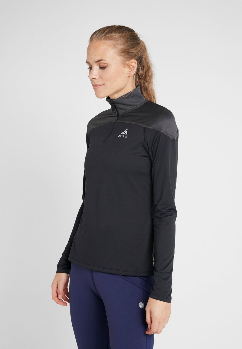ODLO - MIDLAYER ZIP CERAMIWARM ELEMENT - Sports shirt - black