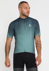 ODLO - STAND UP COLLAR FULL ZIP ELEMENT - T-Shirt print - dark slate/arctic - 0